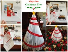 Got A Magazine-Make a Christmas Tree If you have a magazine you can make this cute tree pretty quickly, Paint of not is so cute!! #Christmas #Papercraft