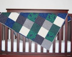 Through The Forest | Green Flannel Patchwork Baby Quilt |Baby Boy Quilt
