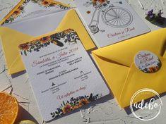 """Astazi va prezentam un nou model ce-l adaugam in magazinul online Adebo Design – Invitatie nunta Crissa, o invitatie de nunta ce atrage privirile de-ndata, o invitatie in care predomina culoarea galbena si floarea soarelui. Daca si voi v-ati gandit sa aveti ca tematica """"Floarea Soarelui"""" la cel mai important eveniment din voata voastra, atunci va recomandam acest model. La pachet cu acesta avem si plicurile de bani tip placecard cu buzunar interior lipit, numere de masa, lista cu invitati si… Restaurants, Floral, Flowers, Restaurant, Flower"""