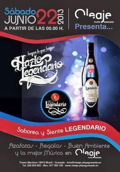 Este sábado desde las 00.00 FIESTA LEGENDARIO en Oleaje Playa Granada.