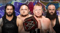 The Universal Championship will be decided in a Fatal Match when Brock Lesnar defends his title against Roman Reigns, Samoa Joe and Braun Strowman at SummerSlam tonight. Wrestling Party, Wrestling News, Brock Lesnar, Wwe Events, Paul Heyman, Braun Strowman, Wwe Roman Reigns, New Champion, Roman Empire