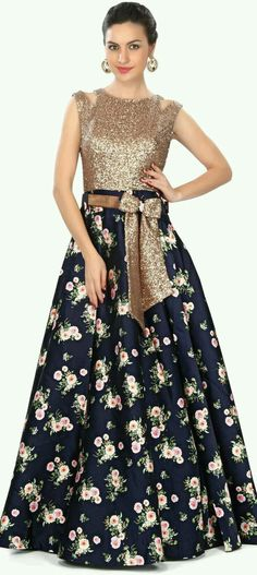 Navy blue gown features in sequin and floral print only on Kalki Pakistani Dresses, Indian Dresses, Indian Outfits, Jw Moda, Navy Blue Gown, Blue Bow, Girls Dresses, Prom Dresses, Wedding Dresses