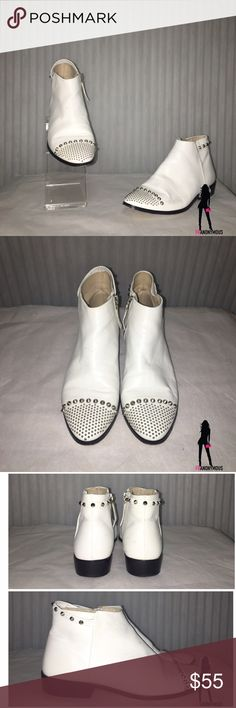 Zara White Leather Ankle Booties 6 1/12 Worn a handful of times. From Zara. These are too fabulous. Got compliments each time. Genuine white leather with silver tone studs. Hard to part with. Size 37 in Zara is 6 1/2. Zara Shoes Ankle Boots & Booties