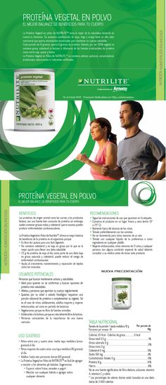 Proteína Vegetal en polvo Amway Nutrilite Proteína Vegetal en polvo Proteínas y beneficios esenciales para tu cuerpo Nueva fórmula de proteína 100% vegetal que contiene una exclusiva mezcla de soya, trigo y chícharo con alto valor nutricional. Cada porción de 10g aporta 8g de proteína.  Debido a que el cuerpo no conserva excesos de proteína es necesario consumirla diariamente. La proteína fortalece tejidos como los músculos. -  www.naturalesnokua.com.co