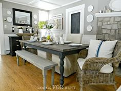 Farmhouse Dining Table - Rooms for Rent...article also has a great link to a farmhouse flip book