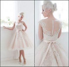2015 Short Lace Wedding Dress Bridal Gown Custom Size 2 4 6 8 10 12 14 16 18 20+