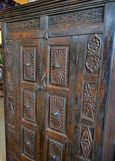Antique carved Indian cabinet Tierra Del Lagarto - Scottsdale Furniture Store | NEW ARRIVALS
