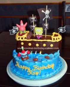 Homemade Spongebob Pirate Ship Birthday Cake