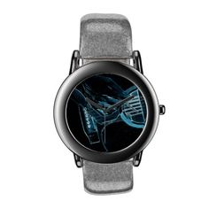 A cool blue neon glowing guitar-playing rock star design for all you trendy music-lovers out there. The ultimate in blues design. Just created for you on this classy music-lover's wrist watch.