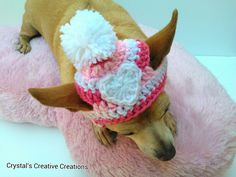 I Love Pink Dog Hat | CrochetFunByCrystal | Etsy