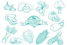 25 Outline hand drawn vegetable set by VasilkovS on @creativemarket