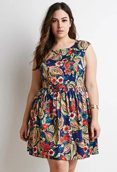 Paisley Print Fit & Flare Dress   Forever 21 PLUS   #forever21plus