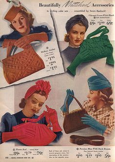 1940's Accessories ~vintage purse hat gloves red green brown blue color photo print ad 40s war era swing