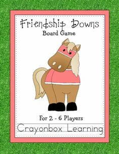 Friendship Downs Board Game, Kentucky Derby, Freebie Therapy Activities, Preschool Activities, Kentucky Game, Friendship Games, Run For The Roses, Color Games, Educational Crafts, Derby Day, School Counseling