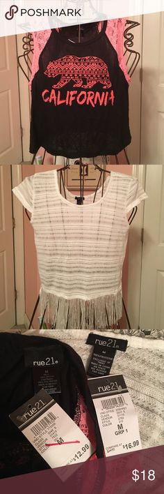 2 Rue 21 shirts! Two cute crop tops! Both from Rue 21! Both size Medium! Open to offers! No trades! Rue 21 Tops Crop Tops