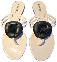5c3e25514ac8 Chanel White with Black Camellia Light Cream Jelly Cc Rubber Thong Flip  Flops (Eu 40