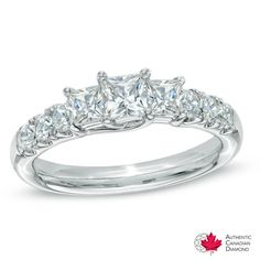 Celebration Canadian Grand™ 1.20 CT. T.W. Princess-Cut Diamond Ring in 14K White Gold (I/I1) - Peoples Jewellers