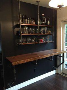 Wood Iron Industrial Shelve Bar/Top/Shelve Combo Shelf Storage Beer Wine Computer Desk Sold Together Bar & Shelve - 21 diy bar cheap ideas Diy Bar, Bar Table Diy, Diy Home Bar, Bar Shelves, Storage Shelves, Kitchen Shelves, Liquor Shelves, Liquor Storage, Glass Shelves