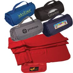 LT-3618 Roll-Up Blanket. Plush, anti-pill, 100% polyester fleece – 360 GSM with 600d polyester trim. Whipstitch trim. Matching webbed handle. Front pocket.