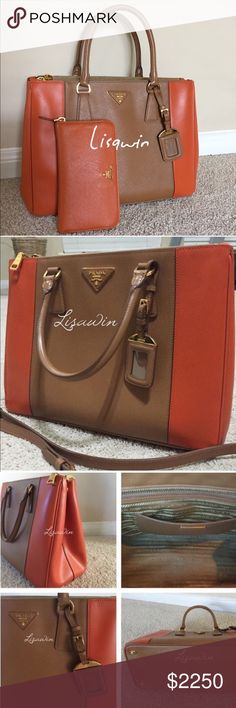 "💯% Auth. Prada Bicolor Saffiano Double-Zip Bag🍁 ❌No Trades❌Bicolor Saffiano Double-Zip Tote Bag, Brown/Orange (Carmel/papaya). Excellent condition, comes with dust bag only ( free matching wallet)Bicolor saffiano calfskin leather. Golden hardware. Double tote handles with rings, 5"" drop. Removable, adjustable shoulder strap, 37""L. Front and back zip compartments frame open top. Expandable snap sides. Leather triangle with metal logo lettering. Hanging luggage tag. Logo jacquard lining. 9""H…"