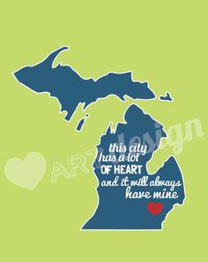 Detroit's Got Heart Print by heartartdesign on Etsy, $13.00
