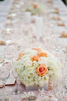 Peach Rose and White Hydrangea Centerpieces, Created by Passion Roots, Hawaii Wedding Florist.   www.passionroots.com