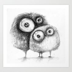 owls  Art Print by Main - cute :)