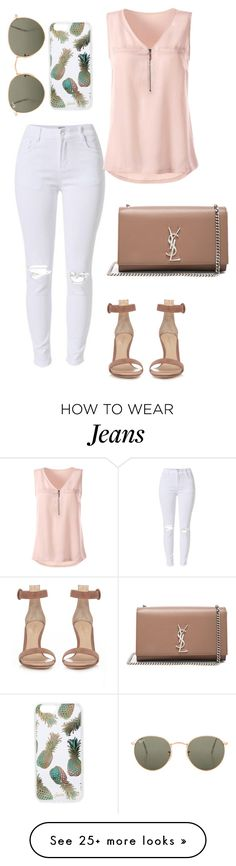 """""""Summer white jeans"""" by allyse-sympson on Polyvore featuring Gianvito Rossi, Yves Saint Laurent, Sonix and Ray-Ban"""