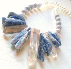 Kyanite Quartz Crystal Necklace by guarnaccia on Etsy