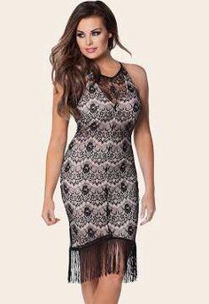 Jessica wright  black lace fringe dress