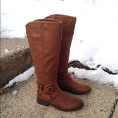 NWT Brown Knee High Cognac Boots Size 8.5 So chic! NWT! Boutique Shoes Heeled Boots