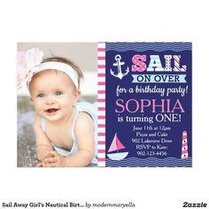 Sail Away Girl's Nautical Birthday Card