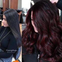 Black Cherry Hair Color, Cherry Hair Colors, Hair Color Dark, Chocolate Cherry Hair Color, Dark Hair, Cherry Brown Hair, Dark Mahogany Hair, Pelo Color Borgoña, Cabelo Ombre Hair