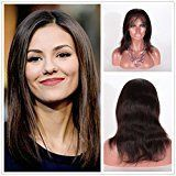 Wigsroyal 100% Indian Remy Human Hair Natural Straight Full Lace Wig Baby Hair 12Inch 1b#