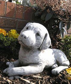 View the Lying Labrador Stone Garden Statue