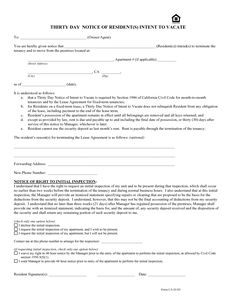 Printable Sample Vacate Notice Form
