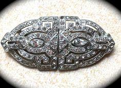 Large Duette Coro Brooch Clip- Pave Rhinestone Brooch- Vintage Designer Jewelry- Estate Brooch- Clear Rhinestone Brooch Pin Clip- Coro Pin - pinned by pin4etsy.com