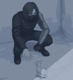 Bucky and a lonely puppy he find. He wants to take it home and give it to you as a surprise.