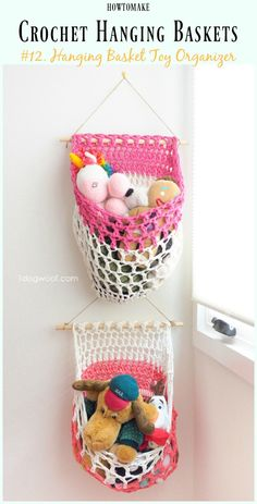 Crochet T-shirt Yarn Hanging Basket Toy Organizer Free Pattern- Hanging #Basket; Free #Crochet; Patterns