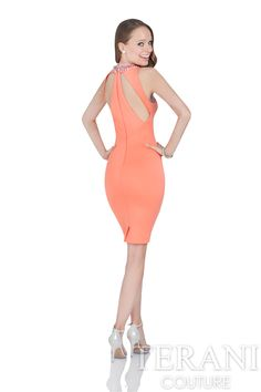 25afca0373 Terani Couture - 2016 Cocktail Dress Style  1611C0040  cocktaildress   shortdress  sleevelessdress  orange  coral  coraldress  shortcocktaildress   tightdress ...