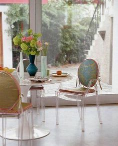 Lucite chairs.