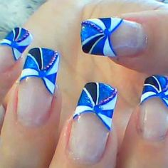 Blue Pinwheel Nails Tutorial