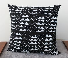 Hand Printed 'Mountain' Pillow in White on Black by thiefandbandit. also in other colours