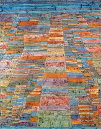 Paul Klee was a pilot in WWI and paintings like this present some of the first aerial views to appear in modern art