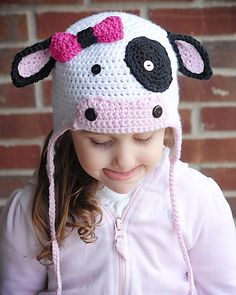 MOO Cow Earflap Hat Crochet Pattern (Permission to sell all finished products) via Etsy Crochet Cow, Crochet Animals, Cow Hat, Animal Hats, Kids Hats, Baby Hats, Crochet Projects, Headbands, Crochet Patterns