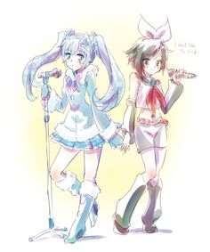 RWBY and Vocaloid crossover~ (Weiss as Miku, Ruby as Rin)