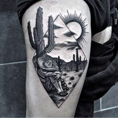 Male With Desert Themed Cactus Tattoo On Thigh