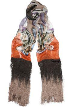 Etro fringed silk-chiffon scarf
