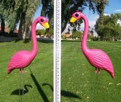 Pair Devil Flamingos Lawn Orn Halloween Goth Punk