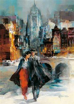 Romance I Canvas Art - Willem Haenraets x Romantic Paintings, Paintings I Love, Beautiful Paintings, Romance Arte, Puzzle Art, Illustration Art, Illustrations, Dutch Artists, Art Themes